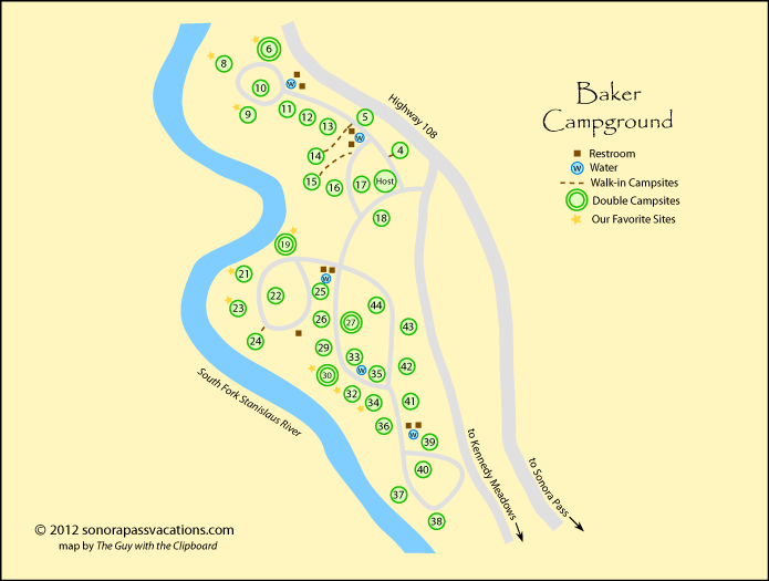 map of Baker Campground, California