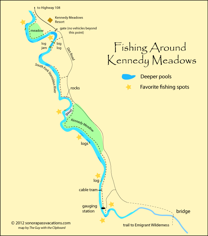 Kennedy meadows fishing map for Stanislaus river fishing