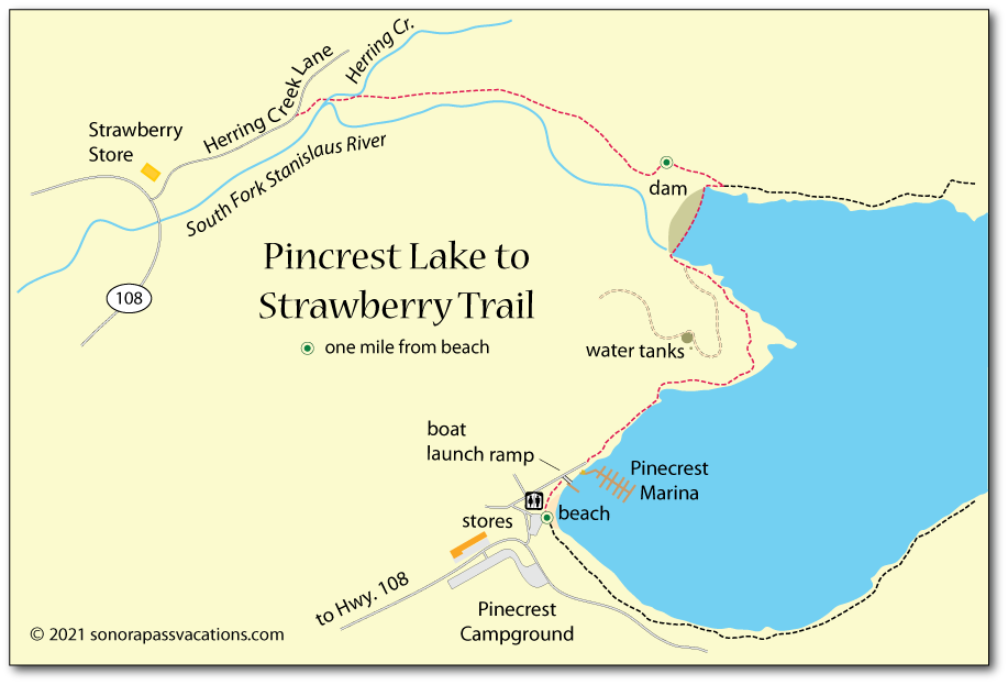 Map of the trail from Pinecrest Lake Strawberry in Tuolumne County, CA