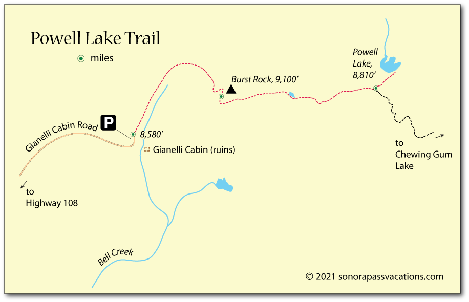 Trail map showing hiking route from Gianelli Cabin to Powell Lake, Stanislaus National Forest, CA