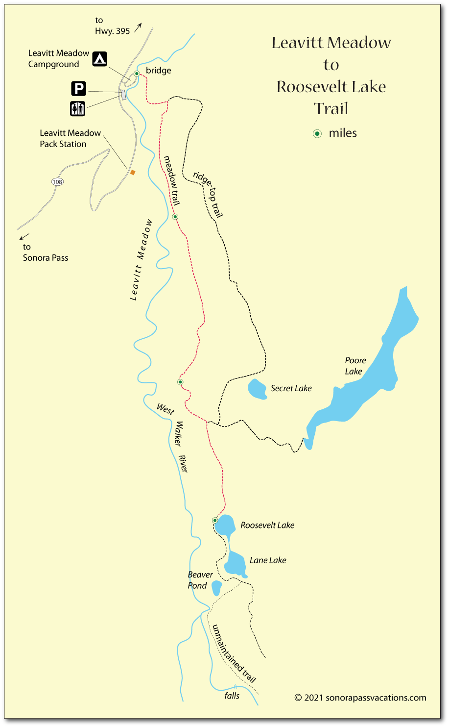 Map of the trail from Leavitt Meadow to Roosevelt Lake, Mono County, CA