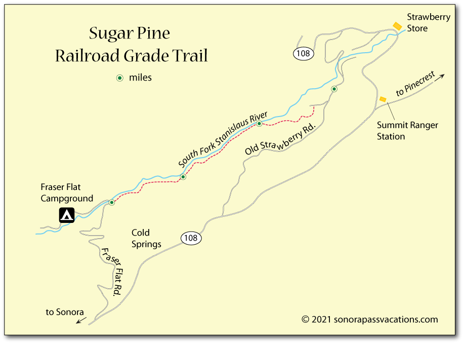 Map of the trail on the Sugar Pine Railroad Grade in Tuolumne County, CA