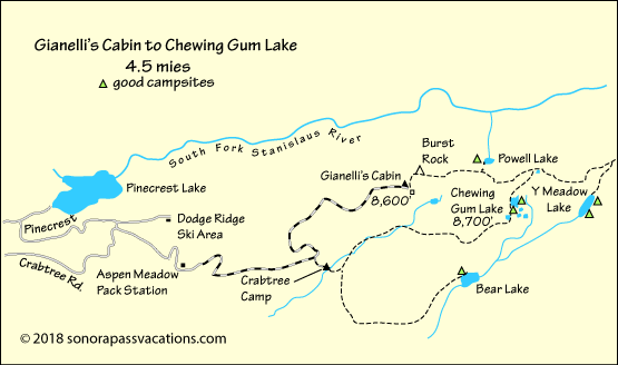 map of hike to Chewing Gum Lake