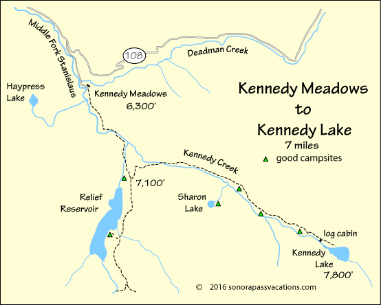 map of hike to Kennedy Lake