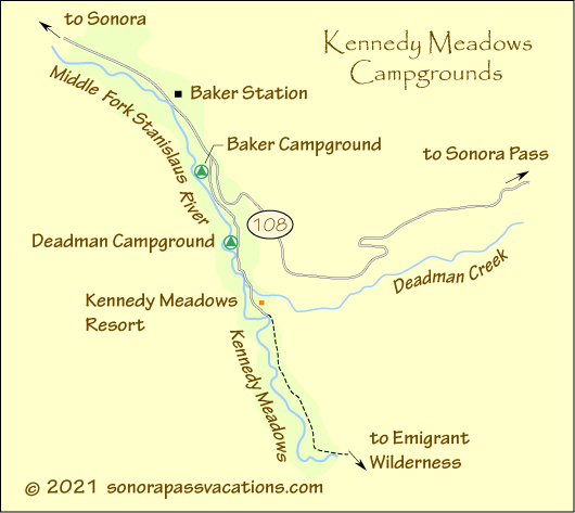 map of Kennedy Meadows campgrounds