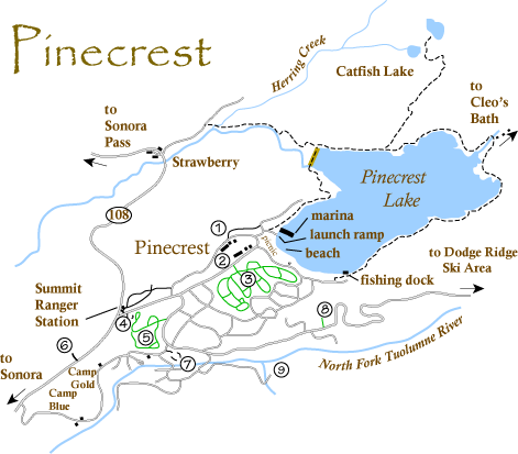 map of Pinecrest, CA